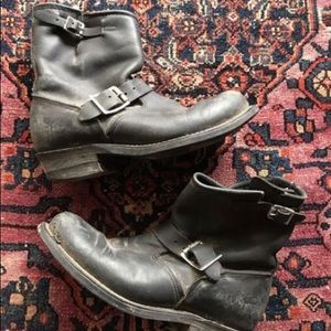 Frye Black leather motorcycle boots sz 8